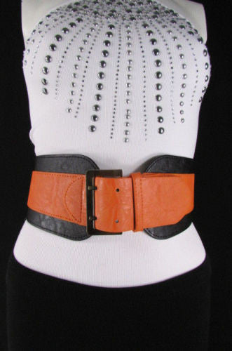 Beige Orange Black Orange White Yellow Blue Pink Faux Leather Elastic Wide 2 Colors Belt Big Buckle Western Style New Women Fashion Accessories S M - alwaystyle4you - 2