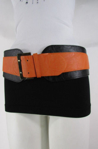 Beige Orange Black Orange White Yellow Blue Pink Faux Leather Elastic Wide 2 Colors Belt Big Buckle Western Style New Women Fashion Accessories S M - alwaystyle4you - 46