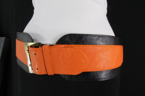 Beige Orange Black Orange White Yellow Blue Pink Faux Leather Elastic Wide 2 Colors Belt Big Buckle Western Style New Women Fashion Accessories S M - alwaystyle4you - 47