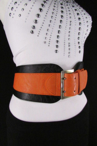 Beige Orange Black Orange White Yellow Blue Pink Faux Leather Elastic Wide 2 Colors Belt Big Buckle Western Style New Women Fashion Accessories S M - alwaystyle4you - 48