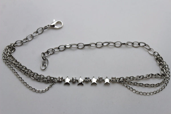 Silver Metal Chain Anklet Shoe Multi Stars Charm Boot Bracelet New Women Fashion Accessories