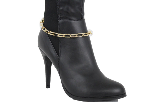 New Women Gold Metal Boot Chain Chunky Long Links Shoe Bling Classy Charm Anklet New Women Fashion Jewelry Accessories