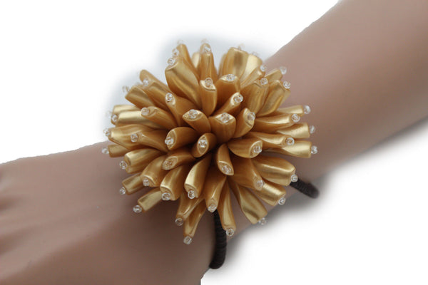 Charm & Black / Cream White / Cream Gold / Cream Pink Elastic Cuff Bracelet Band Big Cream Flower New Women Fashion Jewelry Accessories - alwaystyle4you - 25