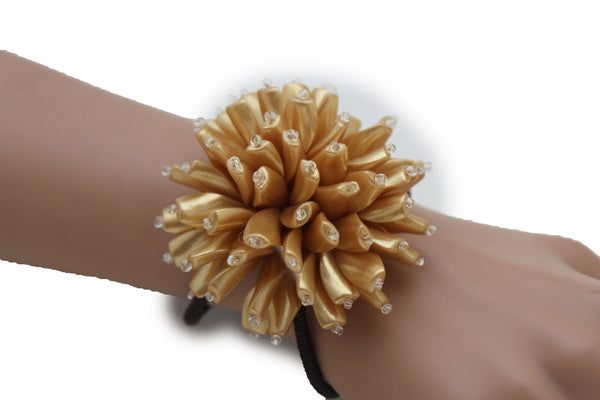 Charm & Black / Cream White / Cream Gold / Cream Pink Elastic Cuff Bracelet Band Big Cream Flower New Women Fashion Jewelry Accessories - alwaystyle4you - 24