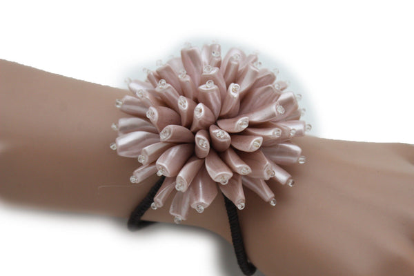 Charm & Black / Cream White / Cream Gold / Cream Pink Elastic Cuff Bracelet Band Big Cream Flower New Women Fashion Jewelry Accessories - alwaystyle4you - 29