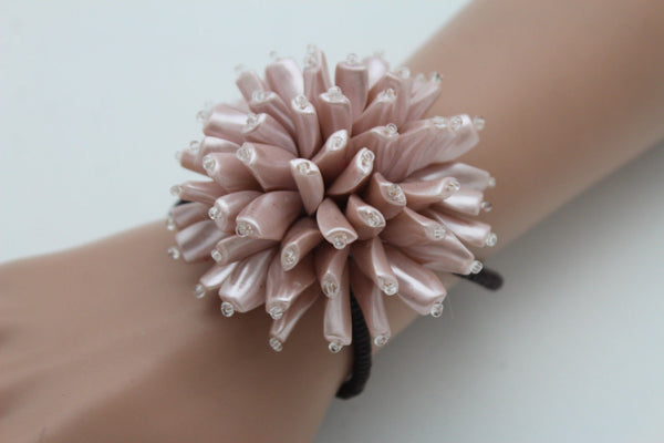 Charm & Black / Cream White / Cream Gold / Cream Pink Elastic Cuff Bracelet Band Big Cream Flower New Women Fashion Jewelry Accessories - alwaystyle4you - 32