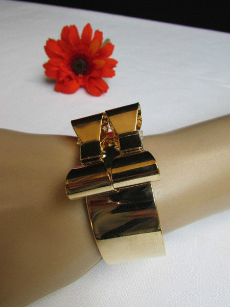Gold Metal Bracelet Cuff Two Double Bows New Women Fashion Jewelry Accessories - alwaystyle4you - 2