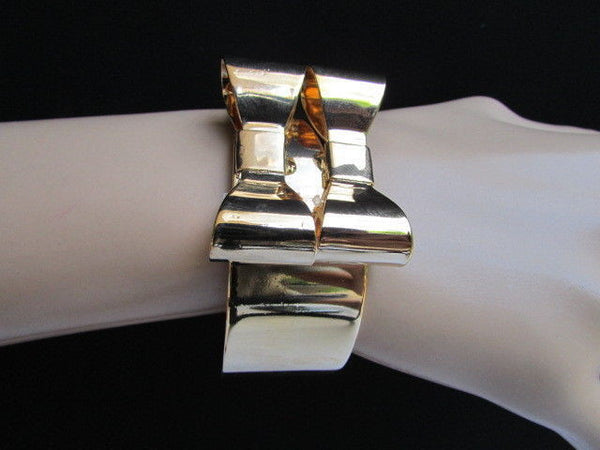 Gold Metal Bracelet Cuff Two Double Bows One Size Fits All New Women Fashion Jewelry Accessories
