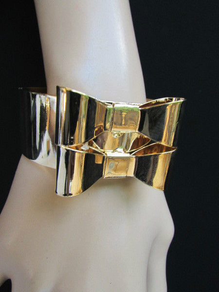 Gold Metal Bracelet Cuff Two Double Bows New Women Fashion Jewelry Accessories - alwaystyle4you - 4