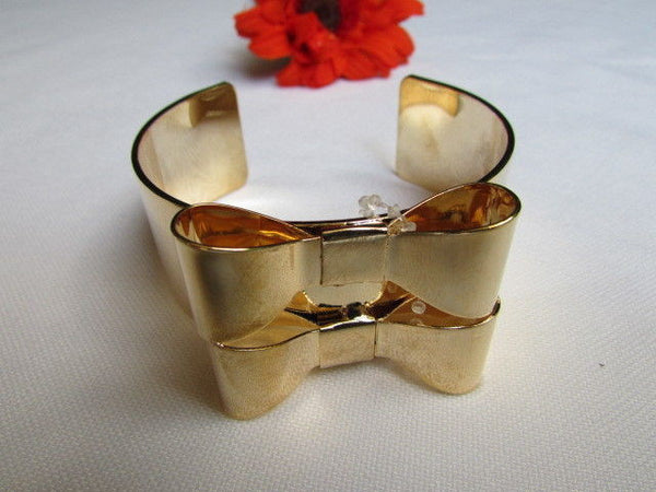 Gold Metal Bracelet Cuff Two Double Bows New Women Fashion Jewelry Accessories - alwaystyle4you - 5