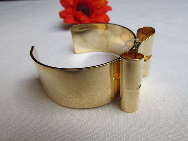 Gold Metal Bracelet Cuff Two Double Bows New Women Fashion Jewelry Accessories - alwaystyle4you - 6
