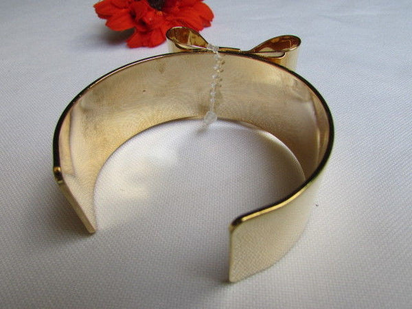 Gold Metal Bracelet Cuff Two Double Bows New Women Fashion Jewelry Accessories - alwaystyle4you - 7