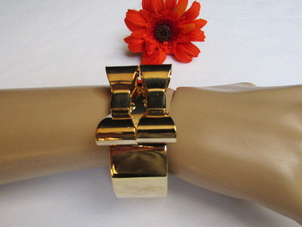 Gold Metal Bracelet Cuff Two Double Bows New Women Fashion Jewelry Accessories - alwaystyle4you - 8
