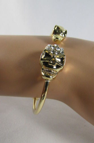 Gold Cuff Bracelet  2 Skulls Head Rhinestone Halloween Fashion New Women Jewelry Accessories - alwaystyle4you - 12