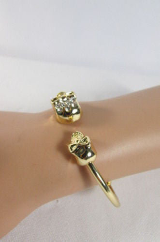 Gold Cuff Bracelet  2 Skulls Head Rhinestone Halloween Fashion New Women Jewelry Accessories - alwaystyle4you - 2