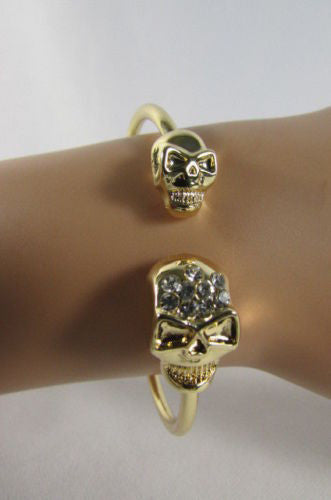 Gold Cuff Bracelet  2 Skulls Head Rhinestone Halloween Fashion New Women Jewelry Accessories - alwaystyle4you - 4