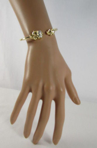 Gold Cuff Bracelet  2 Skulls Head Rhinestone Halloween Fashion New Women Jewelry Accessories - alwaystyle4you - 6