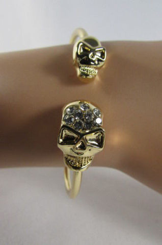 Gold Cuff Bracelet  2 Skulls Head Rhinestone Halloween Fashion New Women Jewelry Accessories - alwaystyle4you - 1