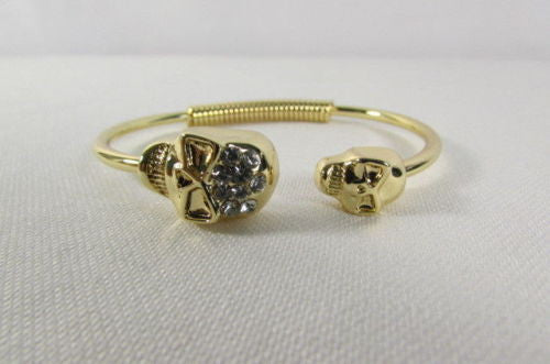 Gold Cuff Bracelet  2 Skulls Head Rhinestone Halloween Fashion New Women Jewelry Accessories - alwaystyle4you - 8