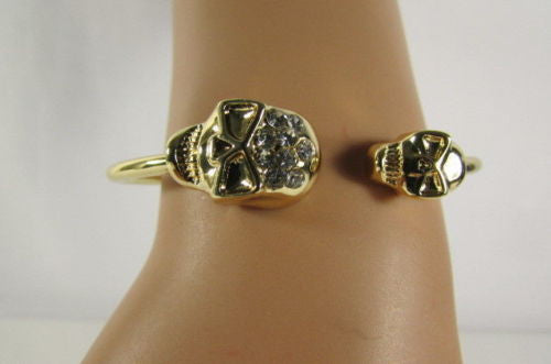 Gold Cuff Bracelet  2 Skulls Head Rhinestone Halloween Fashion New Women Jewelry Accessories - alwaystyle4you - 11