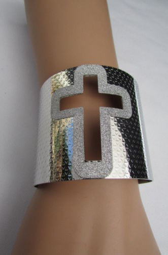 Gold Silver Metal Cuff Bracelet Cut Out Big Sparkling Big Cross Fashion New Women Jewelry Accessories - alwaystyle4you - 25