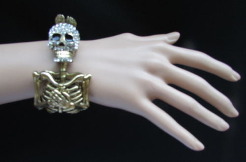 Gold Skeleton Cuff Bracelet Body Bones Halloween Style Fashion Jewelry New Women Accessories - alwaystyle4you - 4