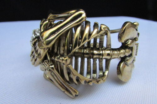 Gold Skeleton Cuff Bracelet Body Bones Halloween Style Fashion Jewelry New Women Accessories - alwaystyle4you - 3