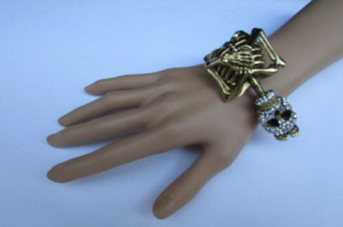 Gold Skeleton Cuff Bracelet Body Bones Halloween Style Fashion Jewelry New Women Accessories - alwaystyle4you - 8
