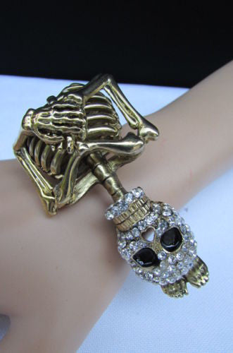 Gold Skeleton Cuff Bracelet Body Bones Halloween Style Fashion Jewelry New Women Accessories - alwaystyle4you - 11