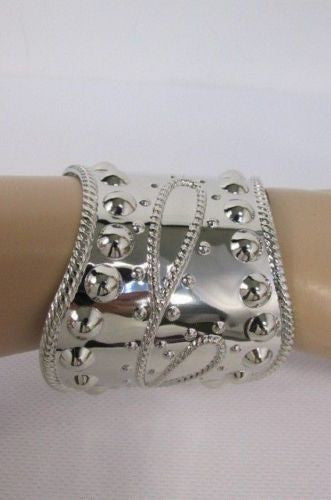 Silver Studs Cuff Wave Metal Bangle Wristband Bracelet Fashion New Women Jewelry Accessories