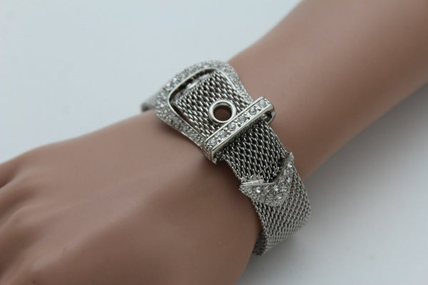 Silver Metal Wrist Bangle Bracelet Rhinestones Belt Buckle Charm Women Jewelry Accessories