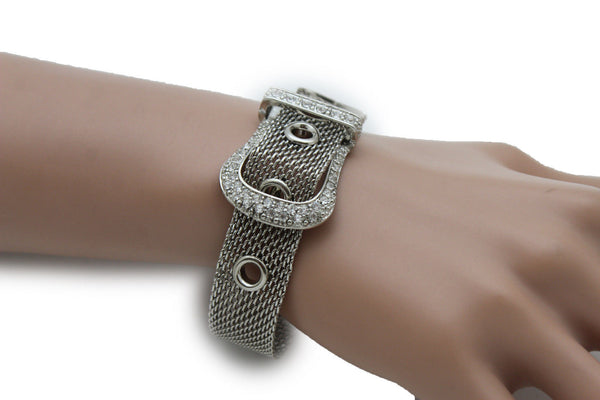 Silver Metal Wrist Bangle Bracelet Rhinestones Belt Buckle Charm New Women Fashion Jewelry Accessories - alwaystyle4you - 6