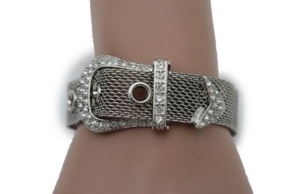 Silver Metal Wrist Bangle Bracelet Rhinestones Belt Buckle Charm New Women Fashion Jewelry Accessories - alwaystyle4you - 2