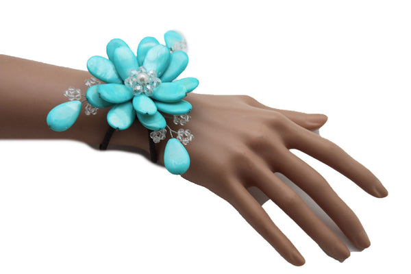 Blue Turquoise Beads Elastic Bracelet Flower Cuff Band New Women Fashion Jewelry Accessories - alwaystyle4you - 12