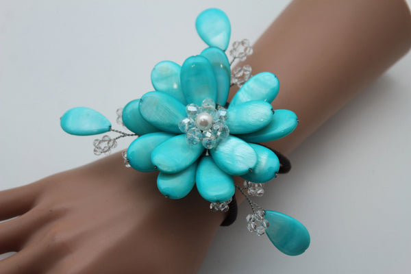 Blue Turquoise Beads Elastic Bracelet Flower Cuff Band New Women Fashion Jewelry Accessories - alwaystyle4you - 2