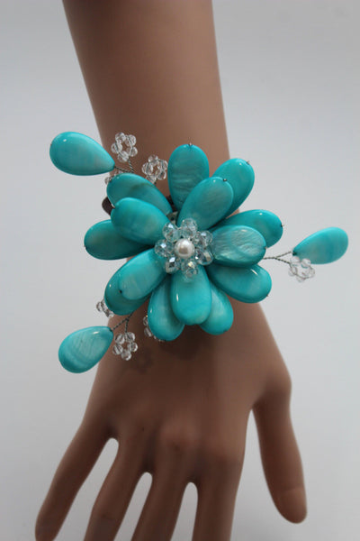 Blue Turquoise Beads Elastic Bracelet Flower Cuff Band New Women Fashion Jewelry Accessories - alwaystyle4you - 4