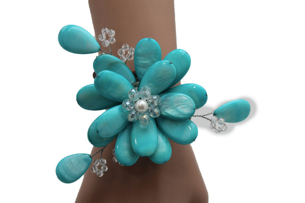 Blue Turquoise Beads Elastic Bracelet Flower Cuff Band New Women Fashion Jewelry Accessories - alwaystyle4you - 5