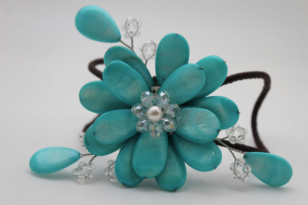 Blue Turquoise Beads Elastic Bracelet Flower Cuff Band New Women Fashion Jewelry Accessories - alwaystyle4you - 6