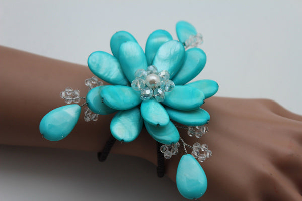 Blue Turquoise Beads Elastic Bracelet Flower Cuff Band New Women Fashion Jewelry Accessories - alwaystyle4you - 7