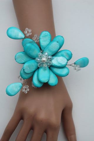 Blue Turquoise Beads Elastic Bracelet Flower Cuff Band New Women Fashion Jewelry Accessories - alwaystyle4you - 9