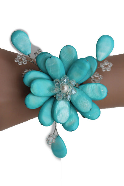Blue Turquoise Beads Elastic Bracelet Flower Cuff Band New Women Fashion Jewelry Accessories - alwaystyle4you - 10