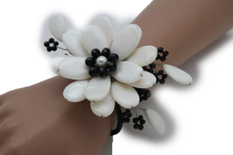 Blue Turquoise / Red / White / White + Black Beads Bracelet Cuff Elastic Band Big Flower Charm New Women Fashion Jewelry Accessories - alwaystyle4you - 1