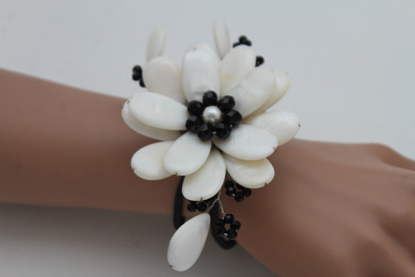 Blue Turquoise / Red / White / White + Black Beads Bracelet Cuff Elastic Band Big Flower Charm New Women Fashion Jewelry Accessories - alwaystyle4you - 20