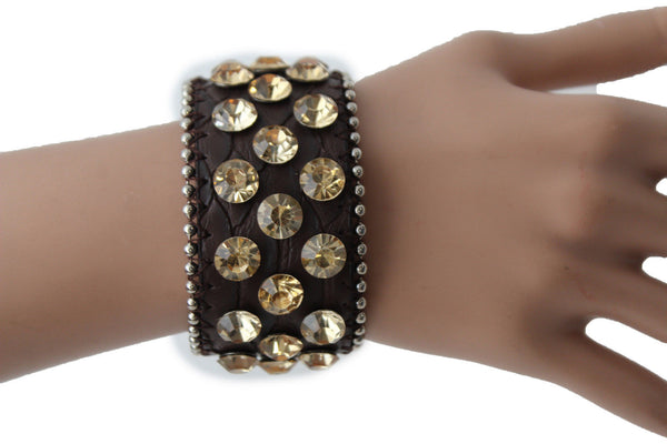 Brown Leather Bracelet Metal Studs Multi Gold Rhinestones New Women Fashion Jewelry Accessories - alwaystyle4you - 3