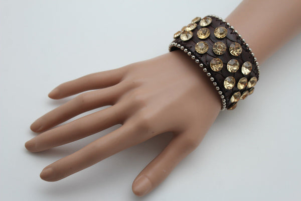 Brown Leather Bracelet Metal Studs Multi Gold Rhinestones New Women Fashion Jewelry Accessories - alwaystyle4you - 5