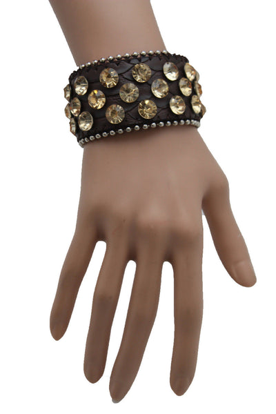Brown Leather Bracelet Metal Studs Multi Gold Rhinestones New Women Fashion Jewelry Accessories - alwaystyle4you - 6