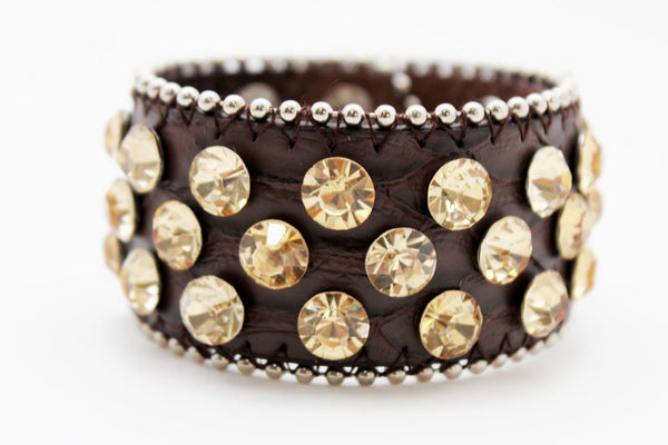 Brown Leather Bracelet Metal Studs Multi Gold Rhinestones New Women Fashion Jewelry Accessories