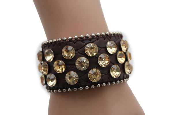 Brown Leather Bracelet Metal Studs Multi Gold Rhinestones New Women Fashion Jewelry Accessories - alwaystyle4you - 8