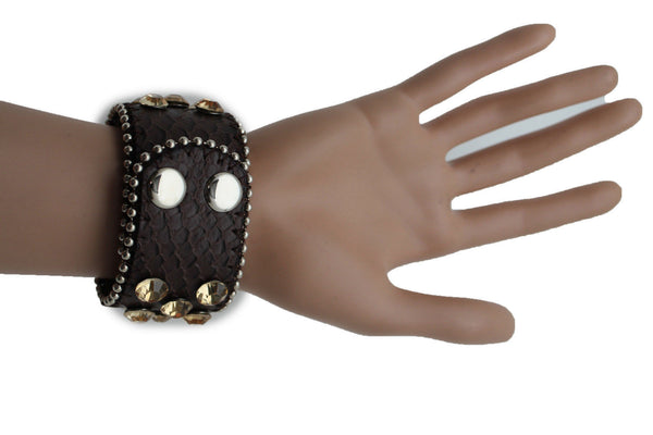 Brown Leather Bracelet Metal Studs Multi Gold Rhinestones New Women Fashion Jewelry Accessories - alwaystyle4you - 9