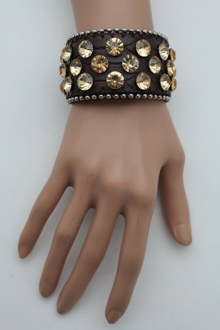 Brown Leather Bracelet Metal Studs Multi Gold Rhinestones New Women Fashion Jewelry Accessories - alwaystyle4you - 1